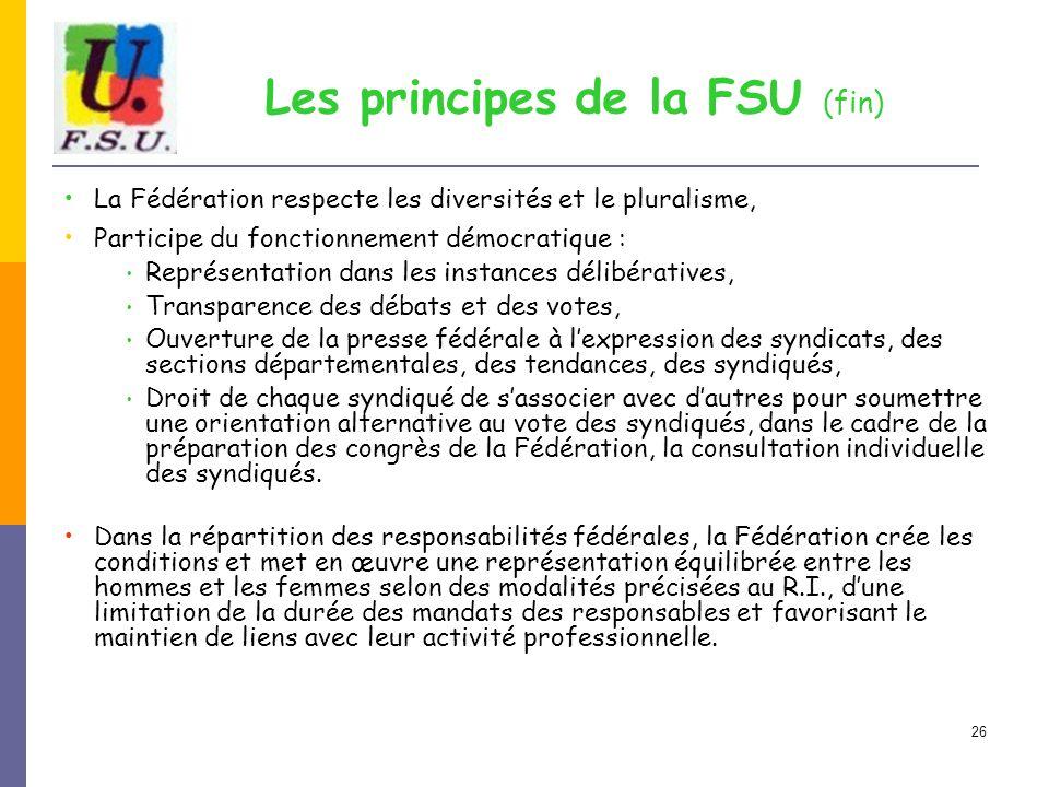 Les principes de la FSU (fin)