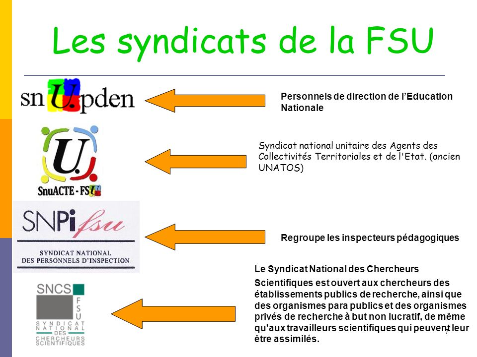 Les syndicats de la FSU Personnels de direction de l'Education Nationale.