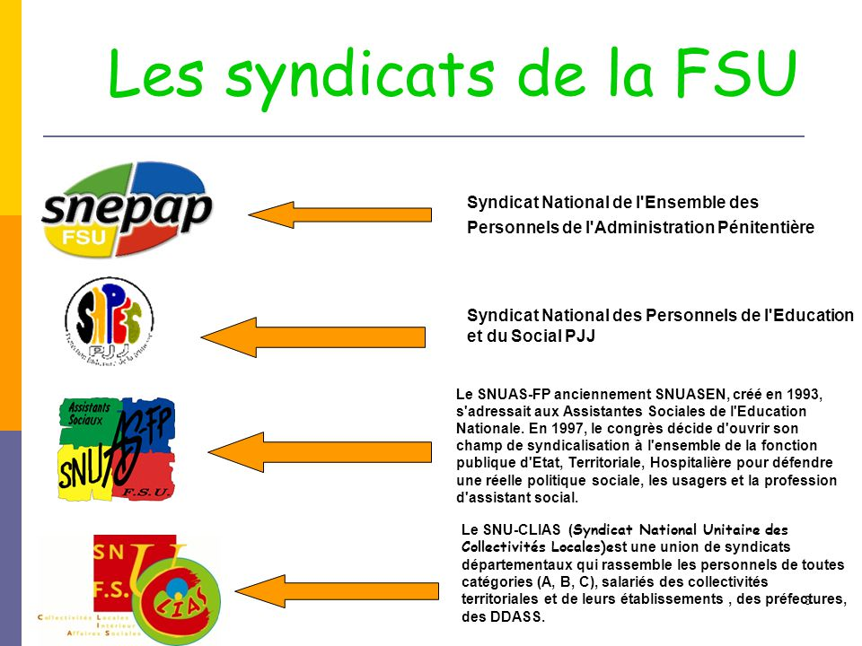 Les syndicats de la FSU Syndicat National de l Ensemble des Personnels de l Administration Pénitentière.