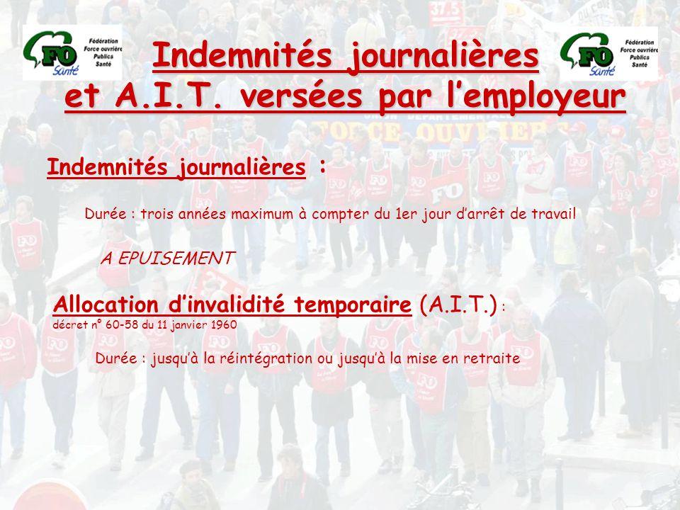 Indemnités journalières et A.I.T. versées par l'employeur