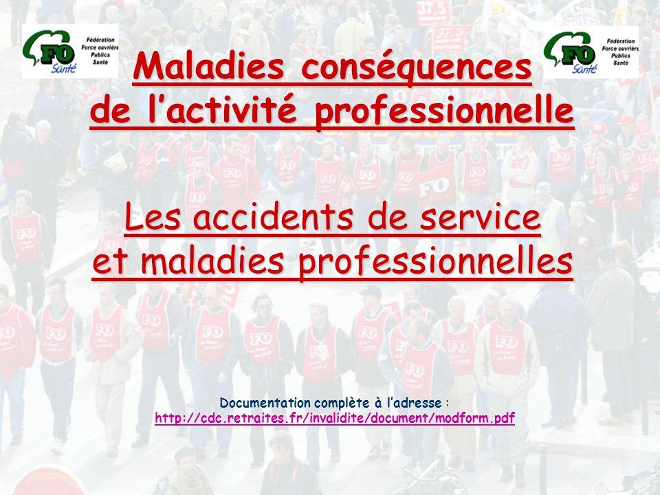Maladies conséquences de l'activité professionnelle