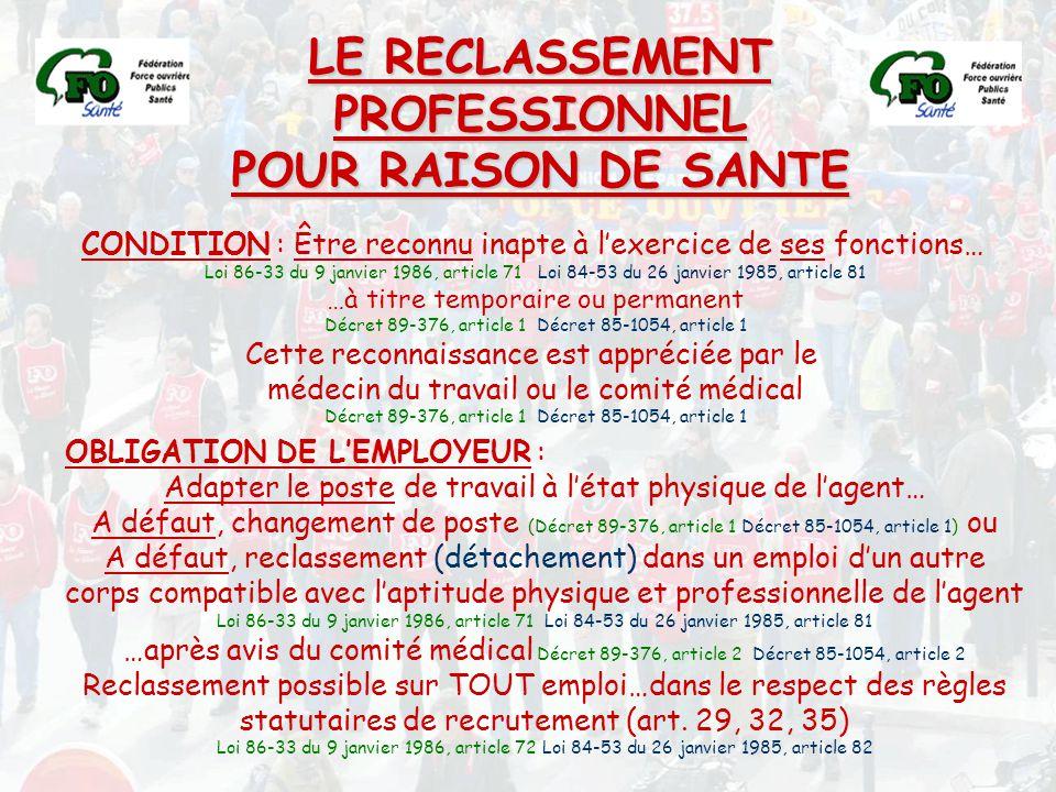 LE RECLASSEMENT PROFESSIONNEL POUR RAISON DE SANTE