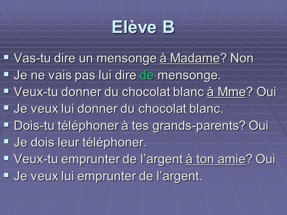 Elève B Vas-tu dire un mensonge à Madame Non