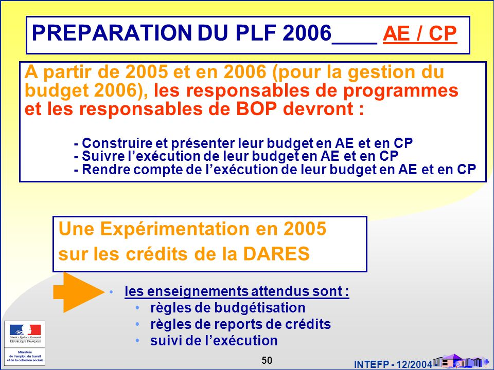 PREPARATION DU PLF 2006____ AE / CP