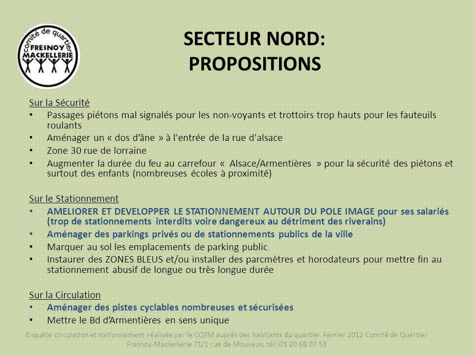 SECTEUR NORD: PROPOSITIONS