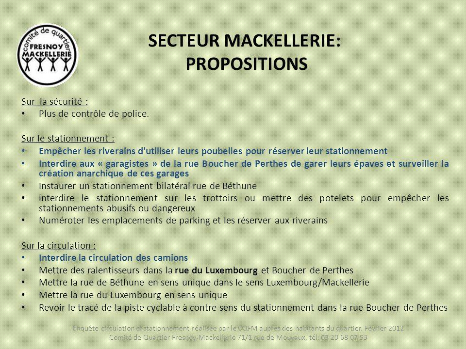 SECTEUR MACKELLERIE: PROPOSITIONS