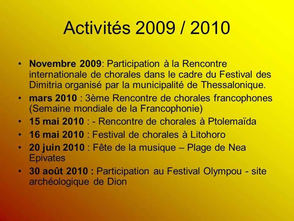 Activités 2009 / 2010