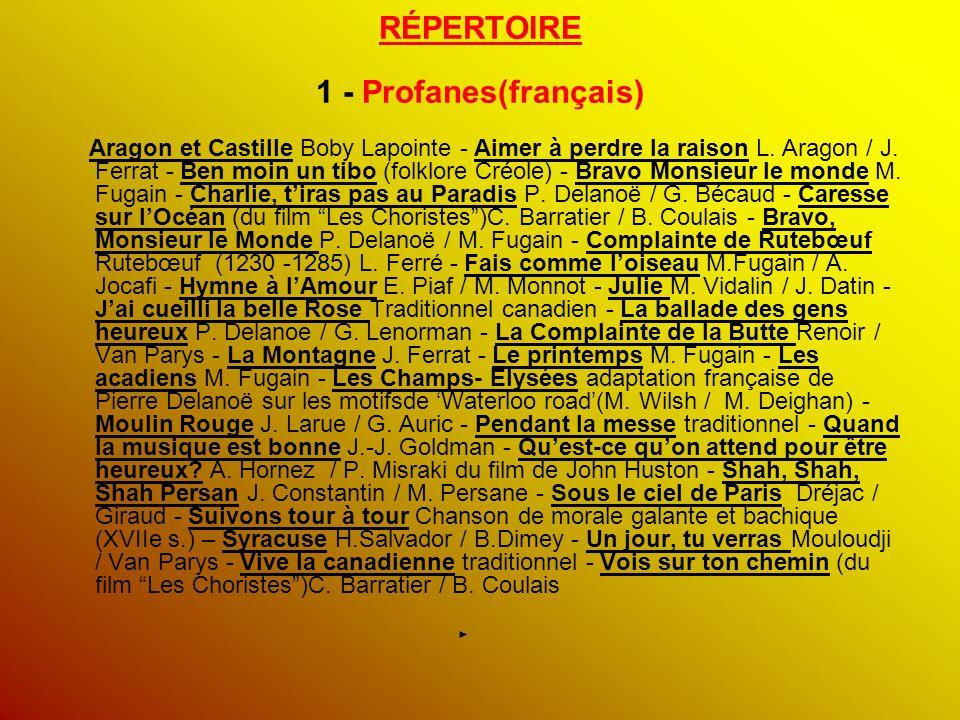 RÉPERTOIRE 1 - Profanes(français)