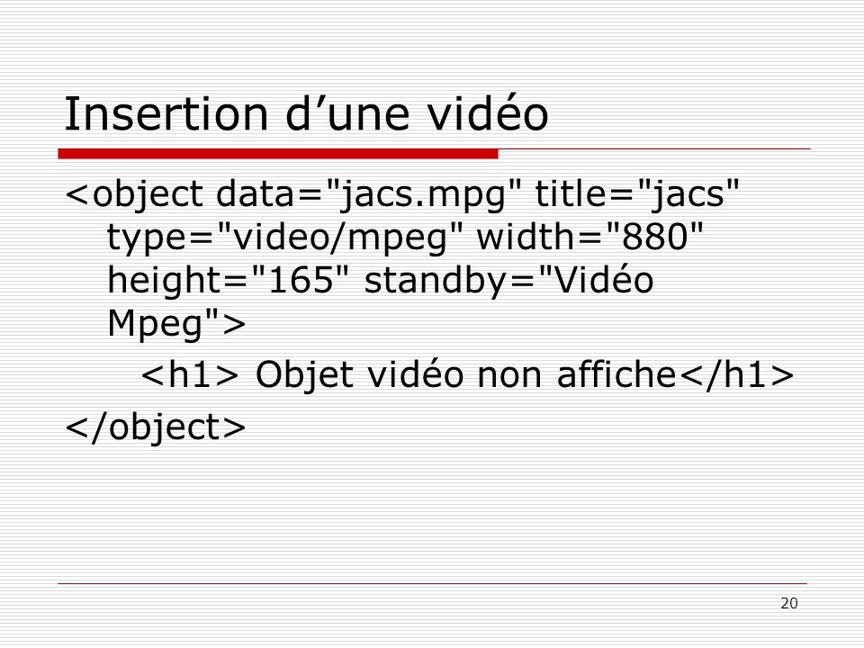 Insertion d'une vidéo <object data= jacs.mpg title= jacs type= video/mpeg width= 880 height= 165 standby= Vidéo Mpeg >