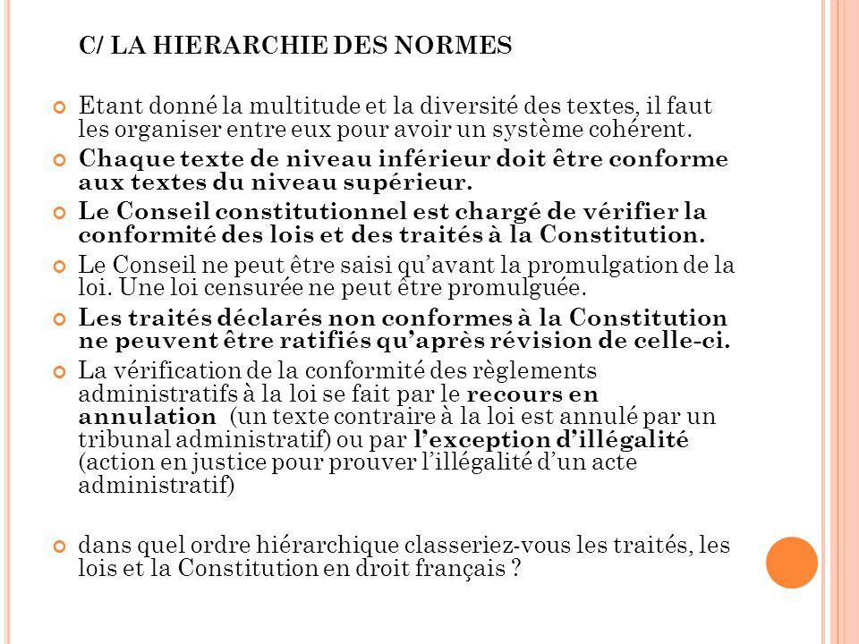 C/ LA HIERARCHIE DES NORMES
