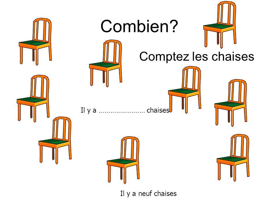 Combien Comptez les chaises Il y a …………………… chaises