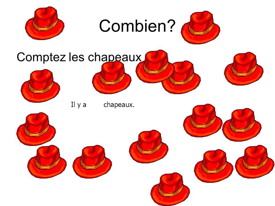 Combien Comptez les chapeaux Il y a chapeaux.