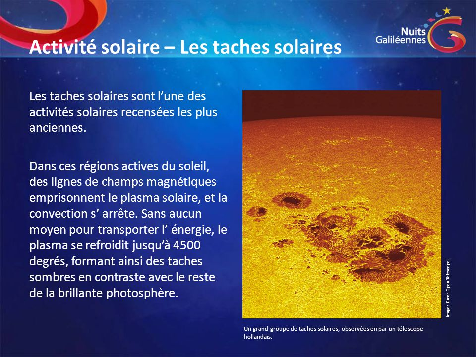 Activité solaire – Les taches solaires