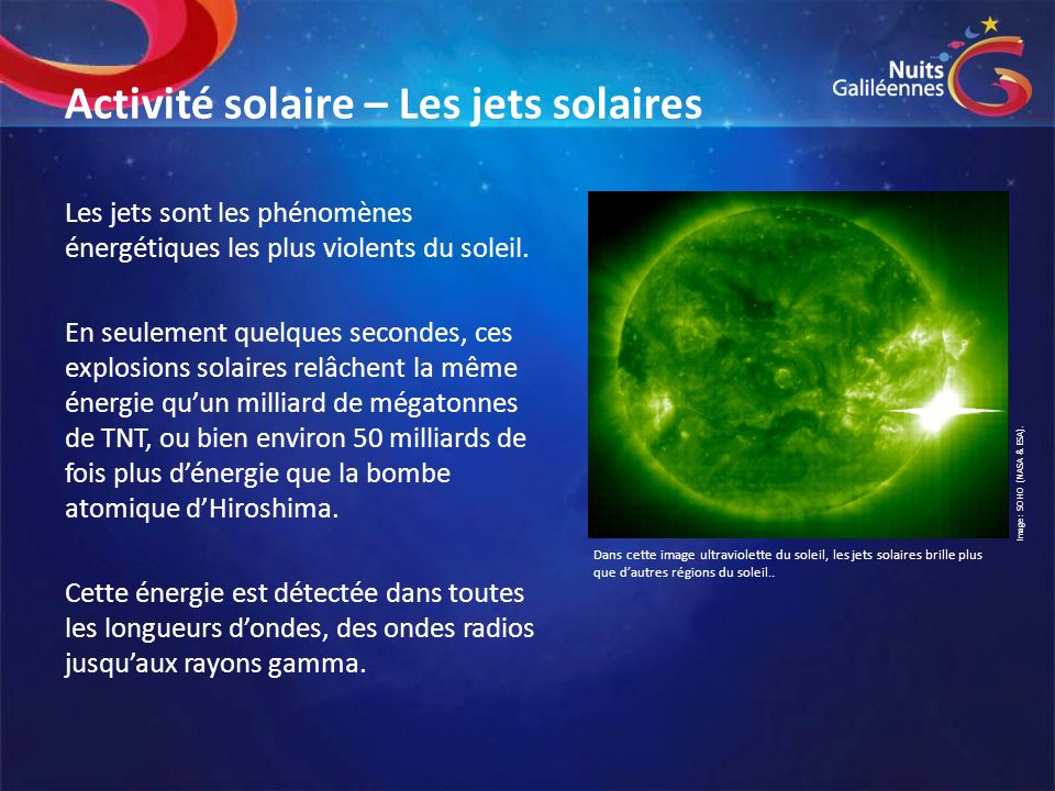Activité solaire – Les jets solaires