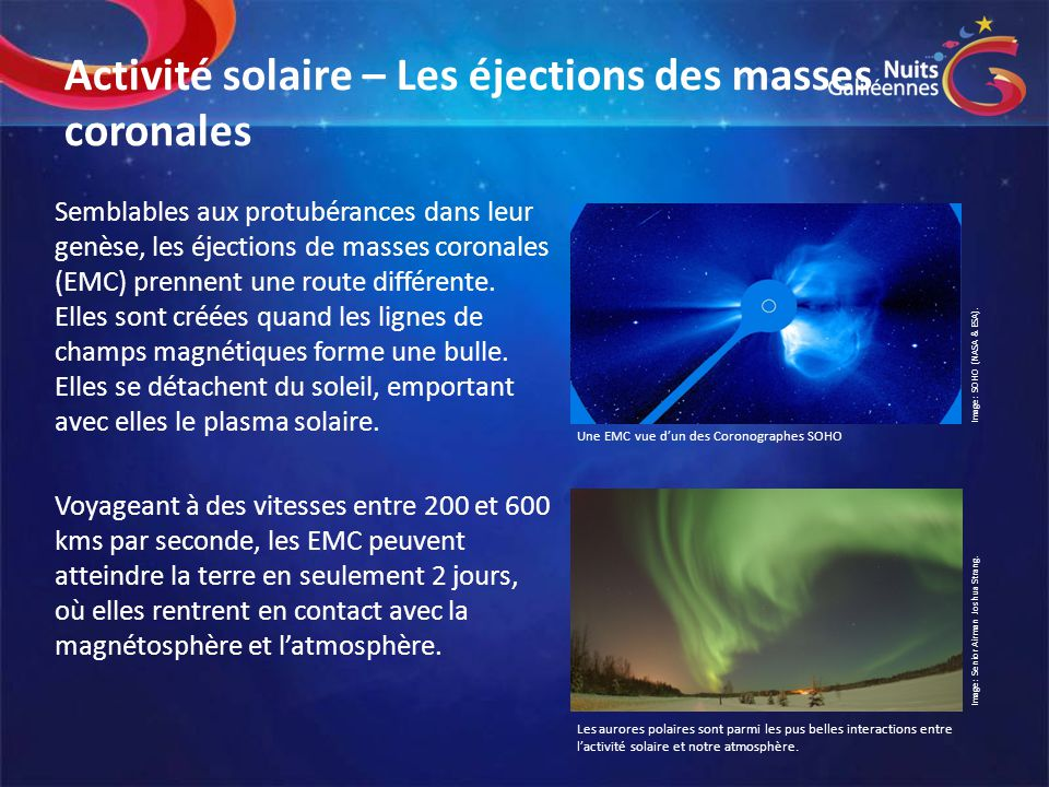 Activité solaire – Les éjections des masses coronales