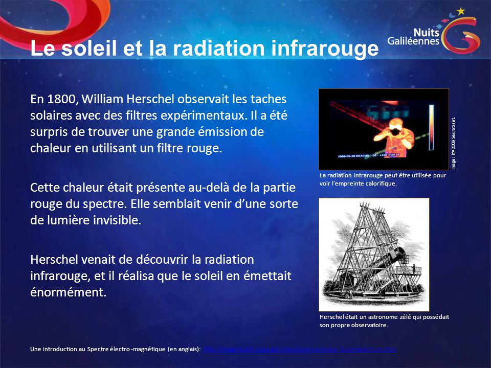 Le soleil et la radiation infrarouge