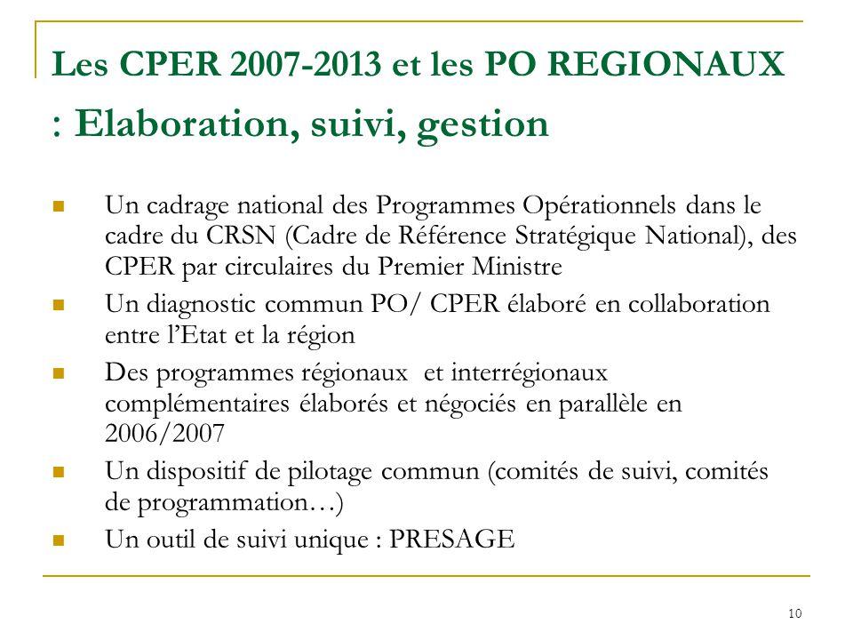 Les CPER 2007-2013 et les PO REGIONAUX : Elaboration, suivi, gestion
