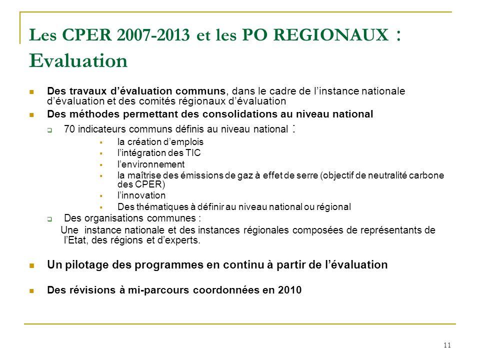 Les CPER 2007-2013 et les PO REGIONAUX : Evaluation