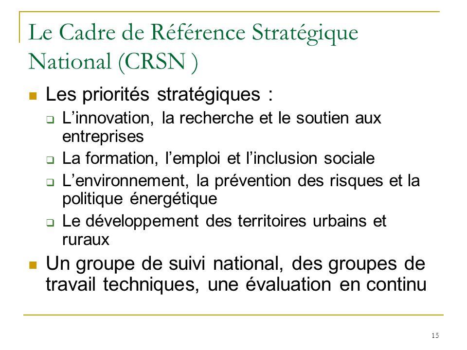 Le Cadre de Référence Stratégique National (CRSN )