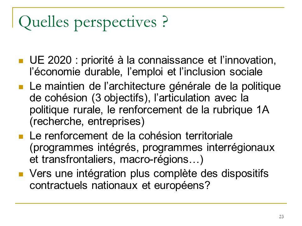 Quelles perspectives UE 2020 : priorité à la connaissance et l'innovation, l'économie durable, l'emploi et l'inclusion sociale.