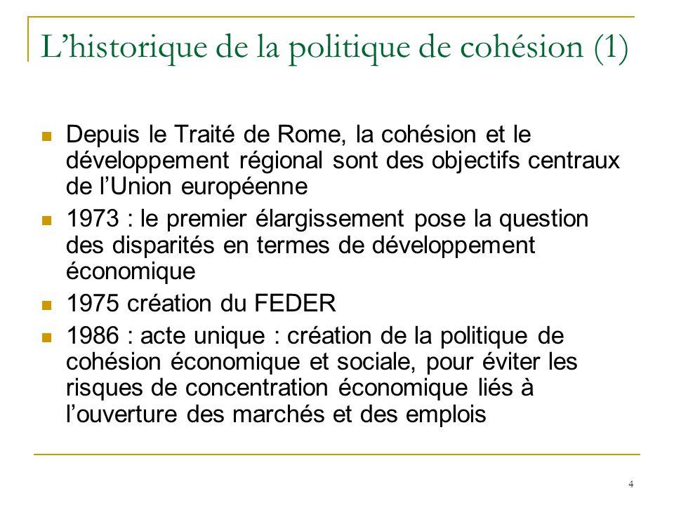L'historique de la politique de cohésion (1)