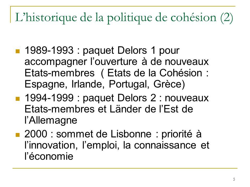L'historique de la politique de cohésion (2)