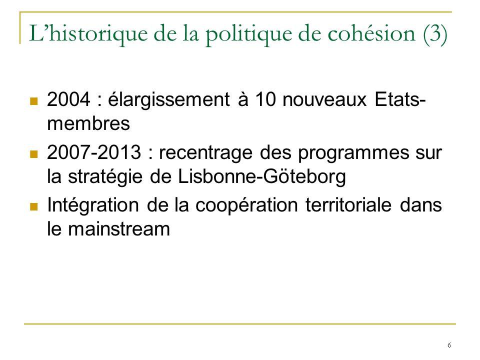 L'historique de la politique de cohésion (3)