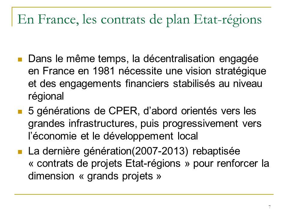 En France, les contrats de plan Etat-régions