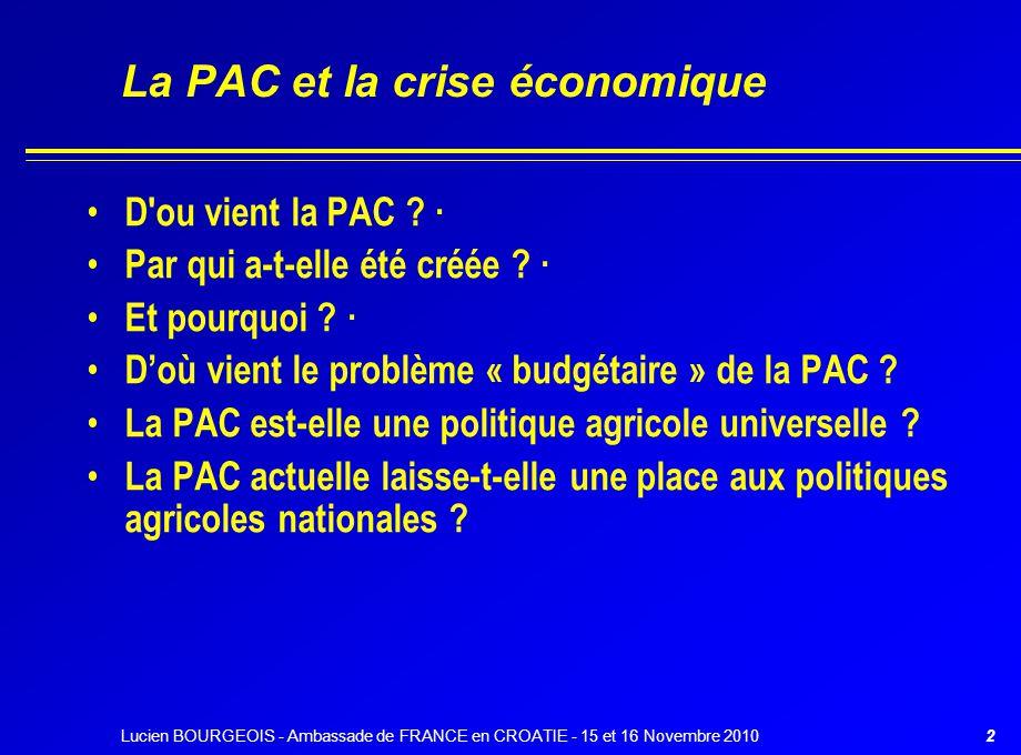 La PAC et la crise économique
