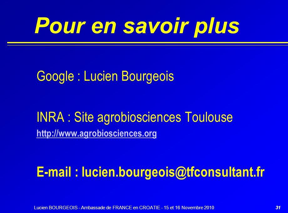 Pour en savoir plus Google : Lucien Bourgeois