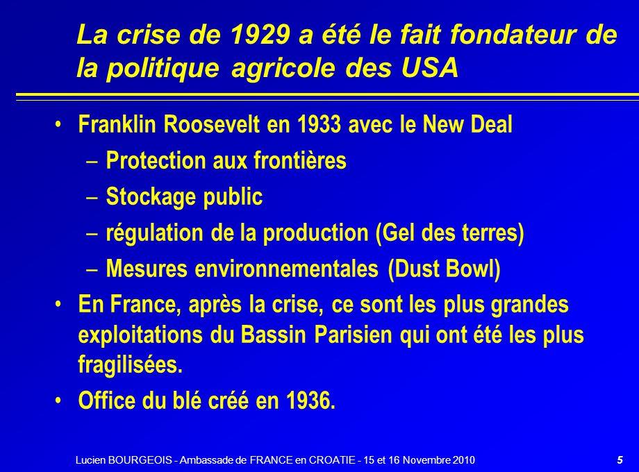 La crise de 1929 a été le fait fondateur de la politique agricole des USA