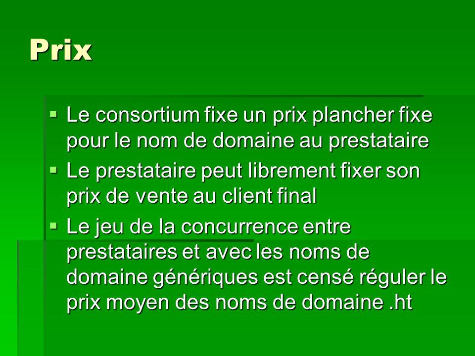 Prix Le consortium fixe un prix plancher fixe pour le nom de domaine au prestataire.