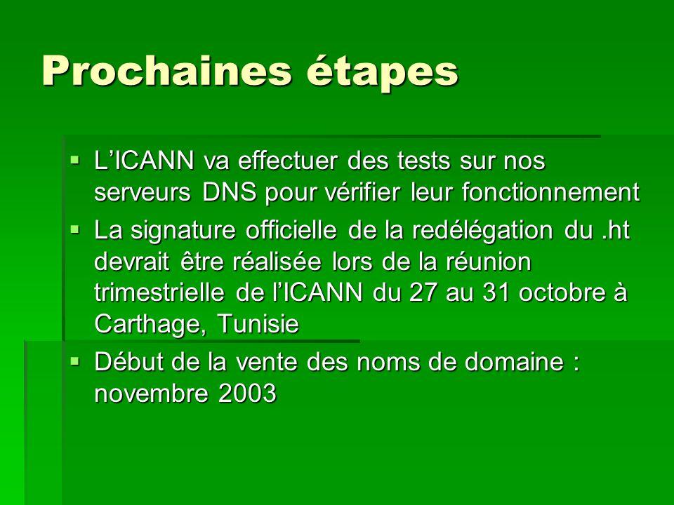 Prochaines étapes L'ICANN va effectuer des tests sur nos serveurs DNS pour vérifier leur fonctionnement.