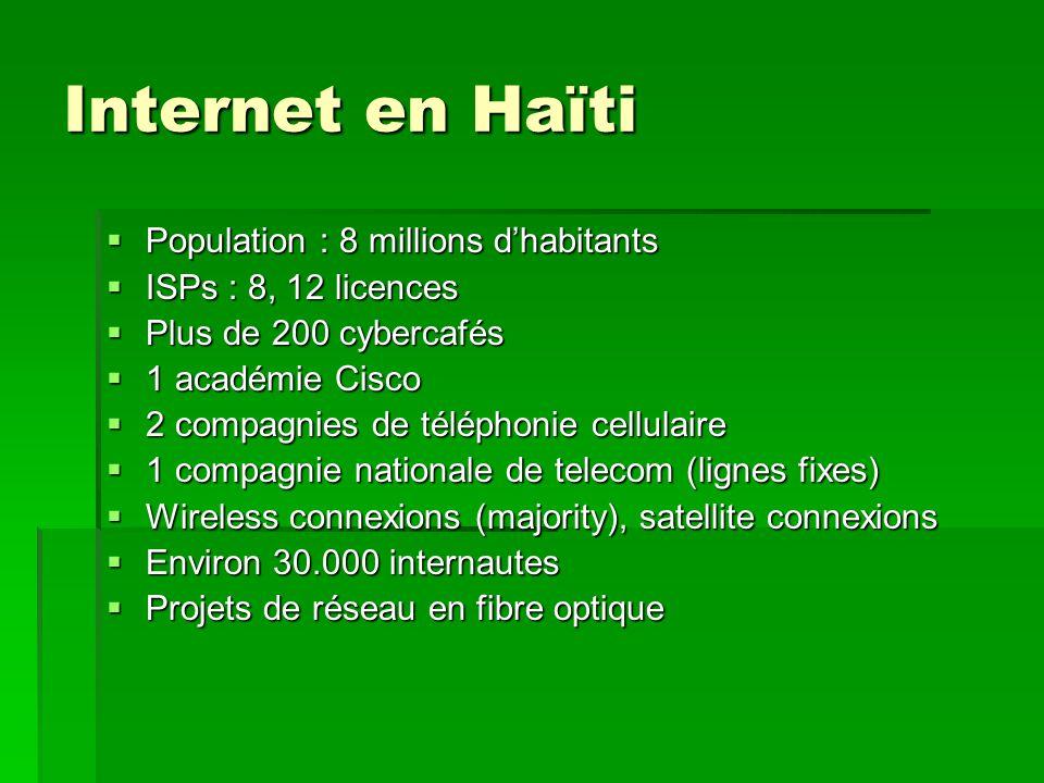 Internet en Haïti Population : 8 millions d'habitants