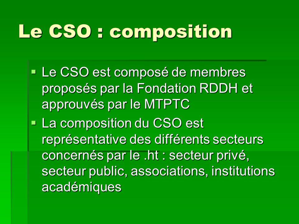 Le CSO : composition Le CSO est composé de membres proposés par la Fondation RDDH et approuvés par le MTPTC.