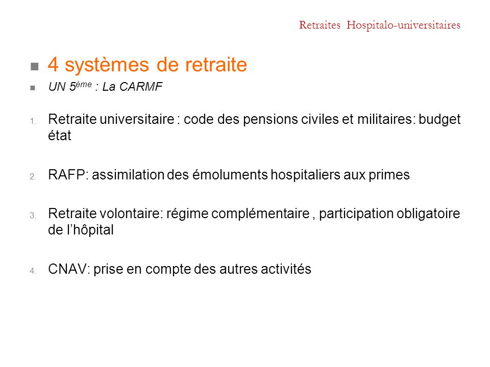 Retraites Hospitalo-universitaires