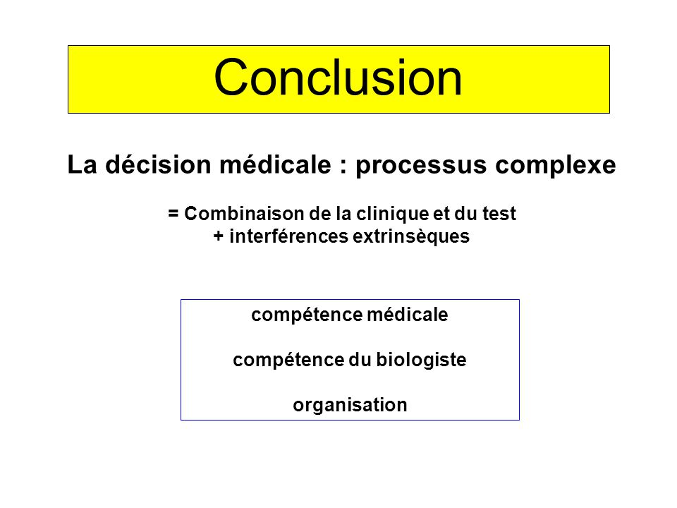 Conclusion « SMR » = service médical rendu = valeur décisionnelle