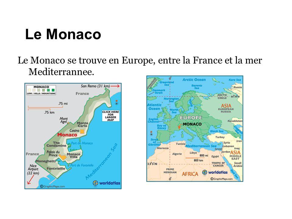 Le Monaco Le Monaco se trouve en Europe, entre la France et la mer Mediterrannee.