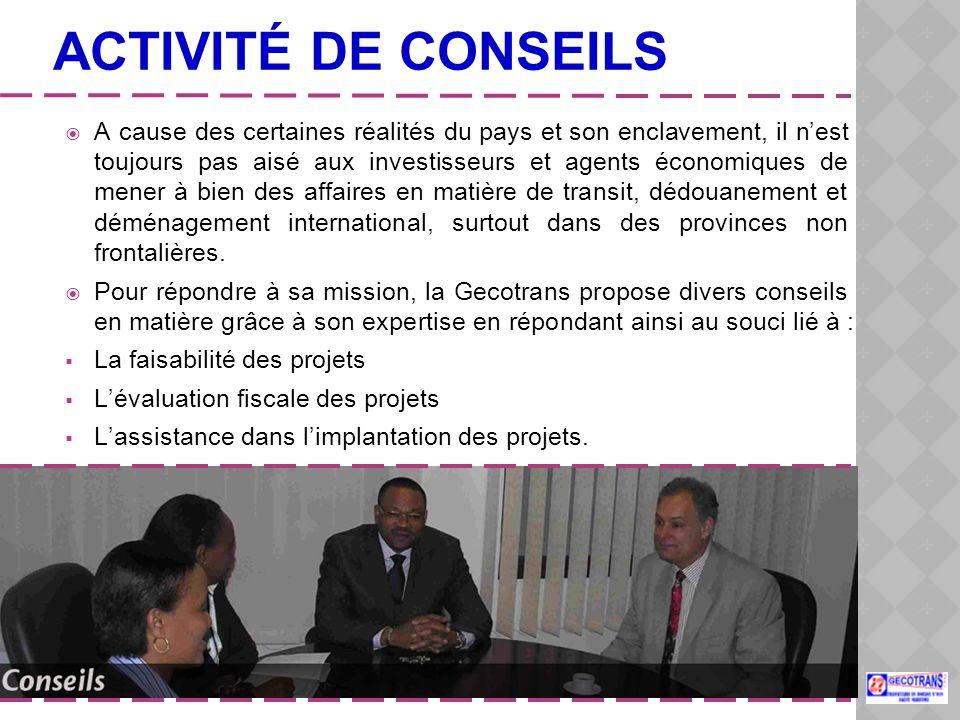 ACTIVITÉ DE CONSEILS