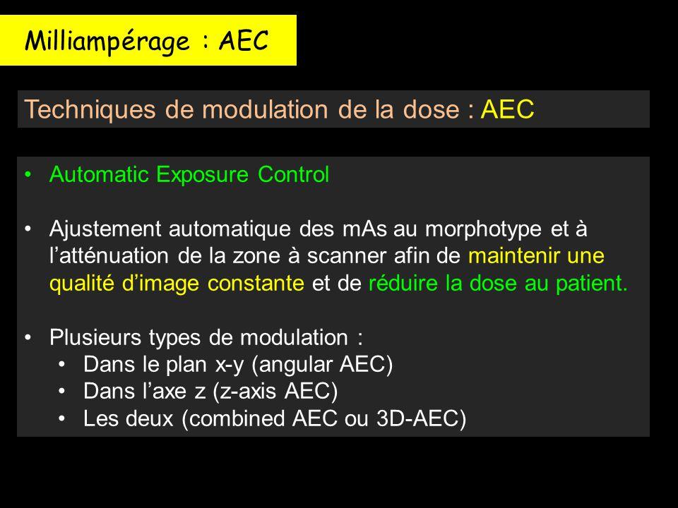 Techniques de modulation de la dose : AEC