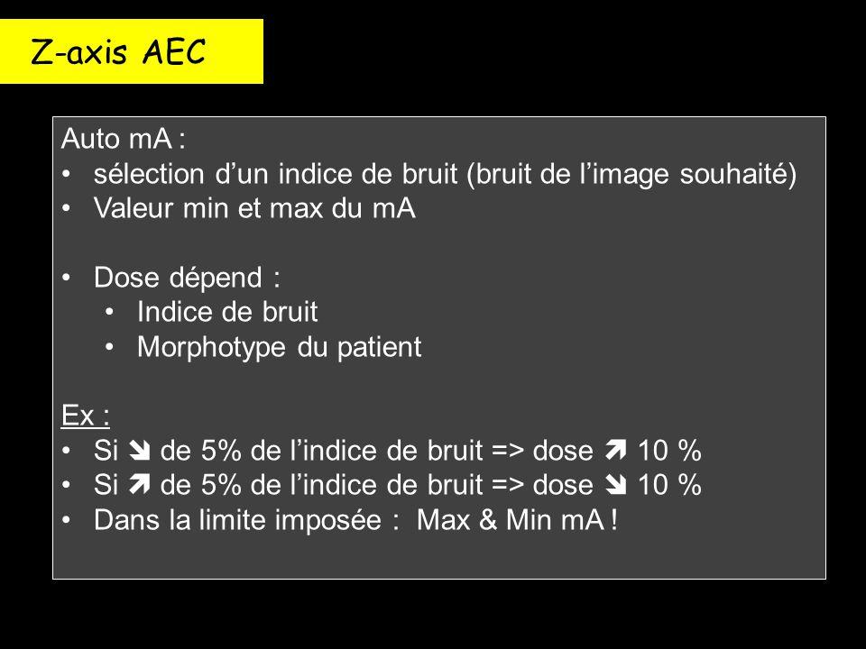 Z-axis AEC Auto mA : sélection d'un indice de bruit (bruit de l'image souhaité) Valeur min et max du mA.