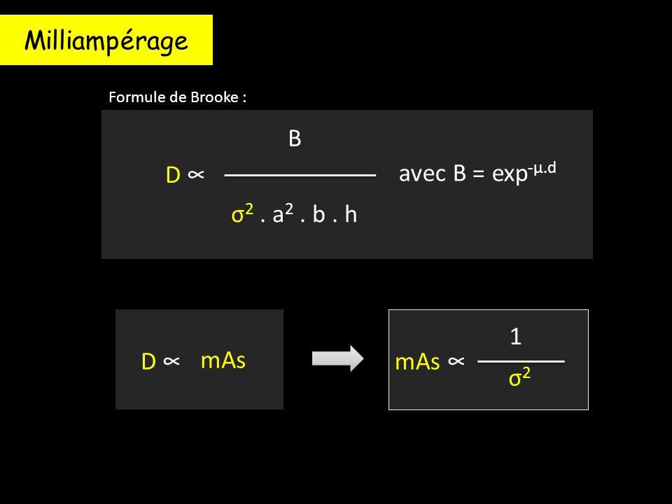 Milliampérage B D ∞ avec B = exp-μ.d σ2 . a2 . b . h D ∞ mAs mAs ∞ σ2