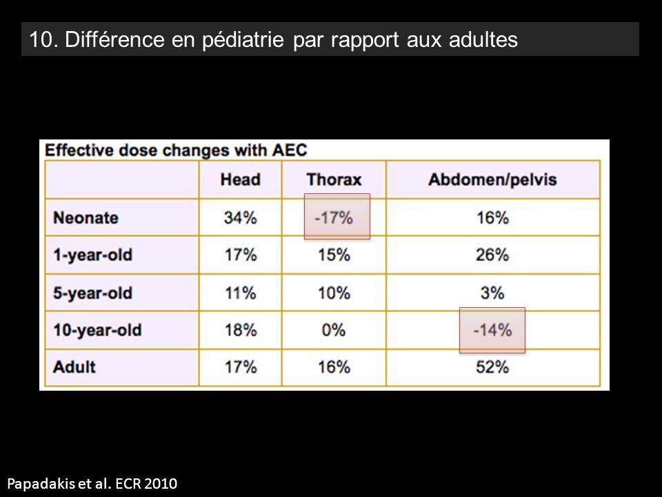 10. Différence en pédiatrie par rapport aux adultes