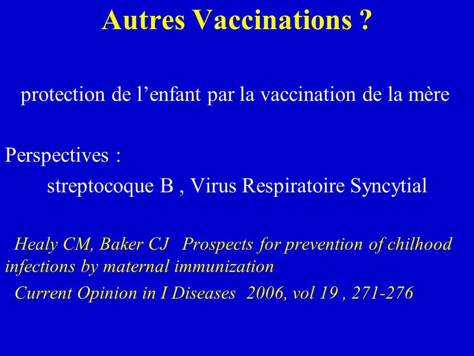 Autres Vaccinations protection de l'enfant par la vaccination de la mère. Perspectives : streptocoque B , Virus Respiratoire Syncytial.