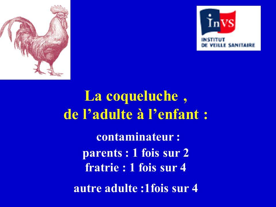 La coqueluche , de l'adulte à l'enfant : contaminateur : parents : 1 fois sur 2 fratrie : 1 fois sur 4 autre adulte :1fois sur 4