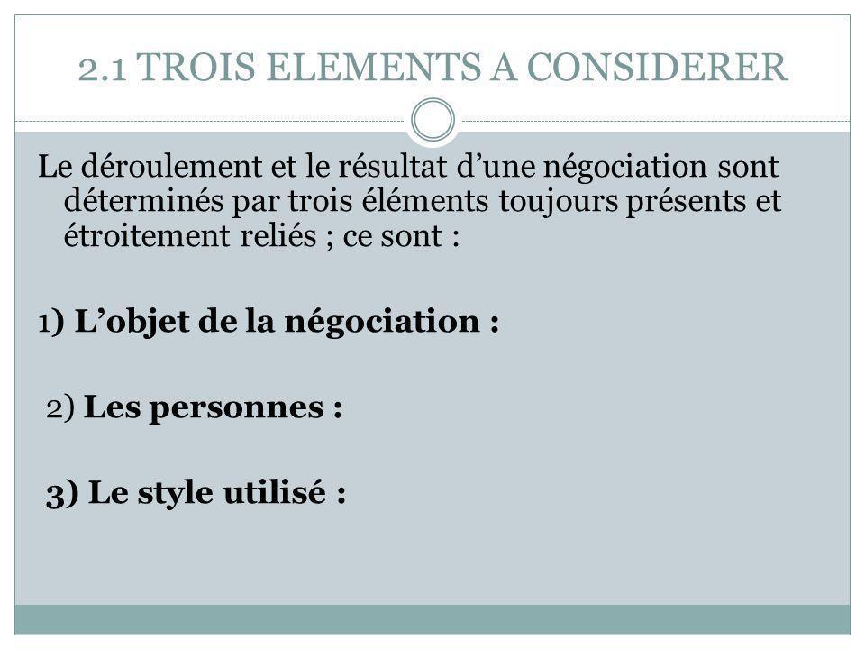 2.1 TROIS ELEMENTS A CONSIDERER