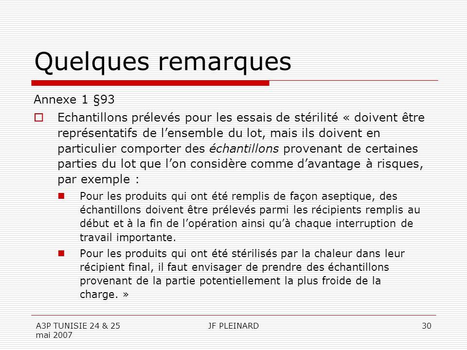 Quelques remarques Annexe 1 §93