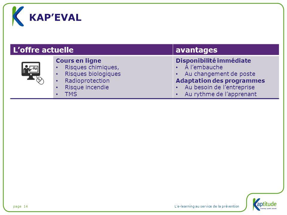 Kap'eval L'offre actuelle avantages Cours en ligne Risques chimiques,