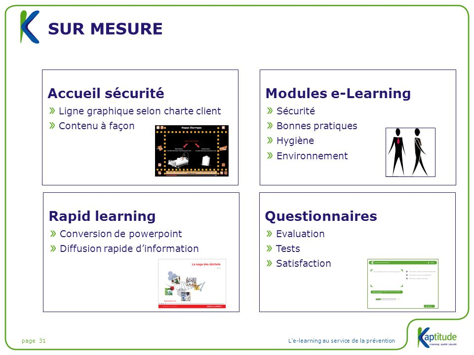 Sur mesure Accueil sécurité Modules e-Learning Rapid learning
