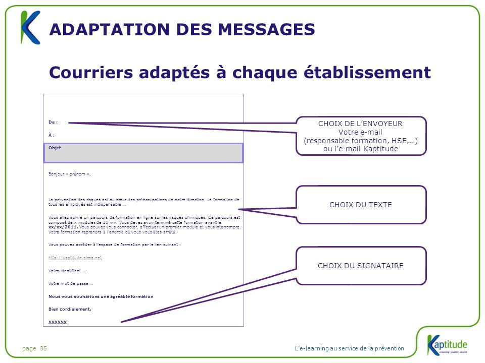 Adaptation des messages